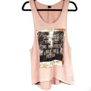 The Clas-sic embellished graphic quote tank top